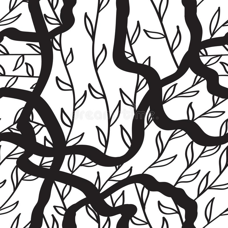 Ink handdrawn seamless pattern with hrrbs amd leaves. black lines on white. Ink handdrawn seamless pattern with hrrbs amd leaves. black lines vector illustration