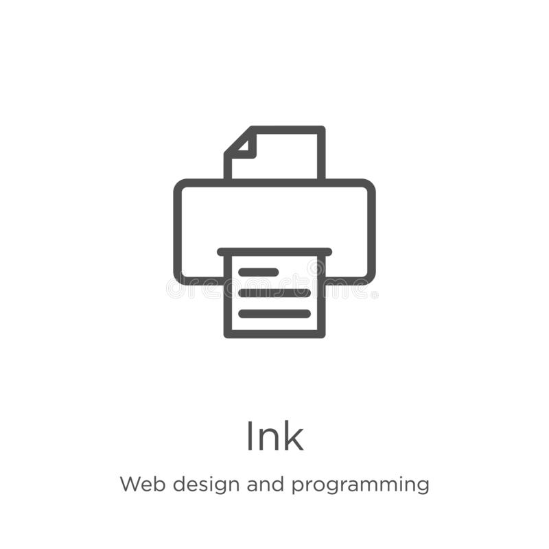 Ink icon vector from web design and programming collection. Thin line ink outline icon vector illustration. Outline, thin line ink. Ink icon. Element of web royalty free illustration