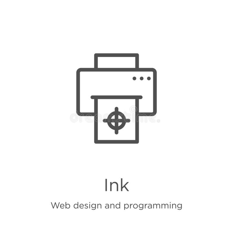 Ink icon vector from web design and programming collection. Thin line ink outline icon vector illustration. Outline, thin line ink. Ink icon. Element of web stock illustration