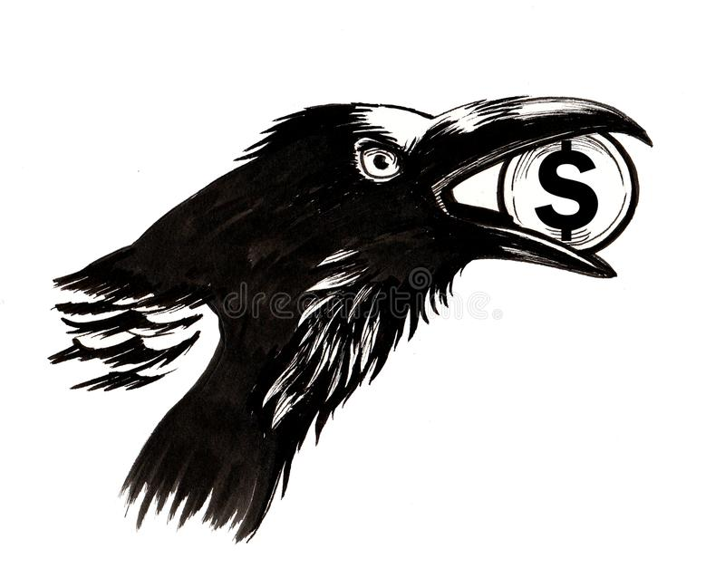 Raven with a stolen dollar royalty free illustration