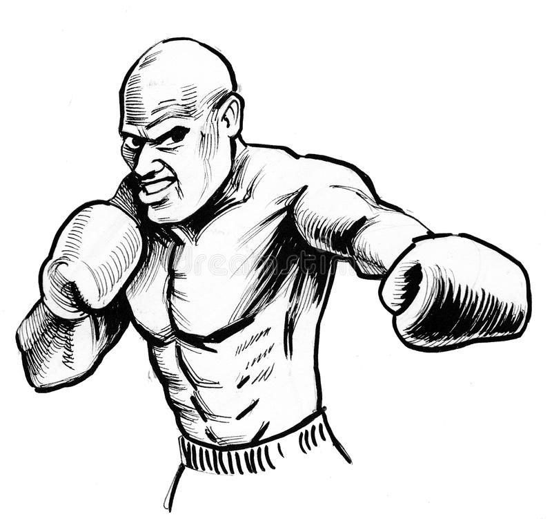 Mad boxer stock illustration