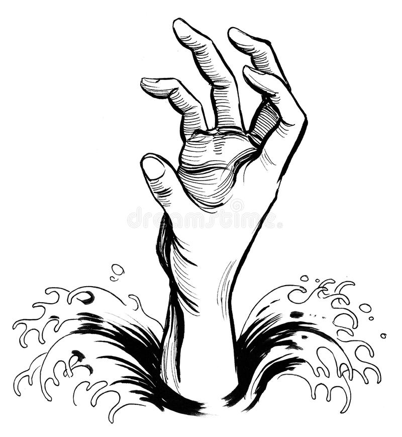 Drowning hand royalty free illustration