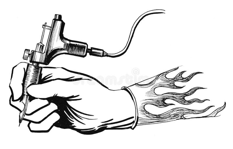 Hand with a tattoo machine stock illustration