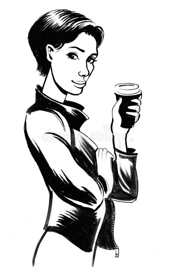 Girl with a cup of coffee vector illustration