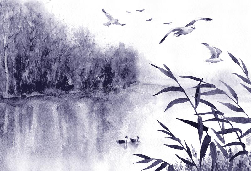Ink Landscape with Birds and Reeds vector illustration