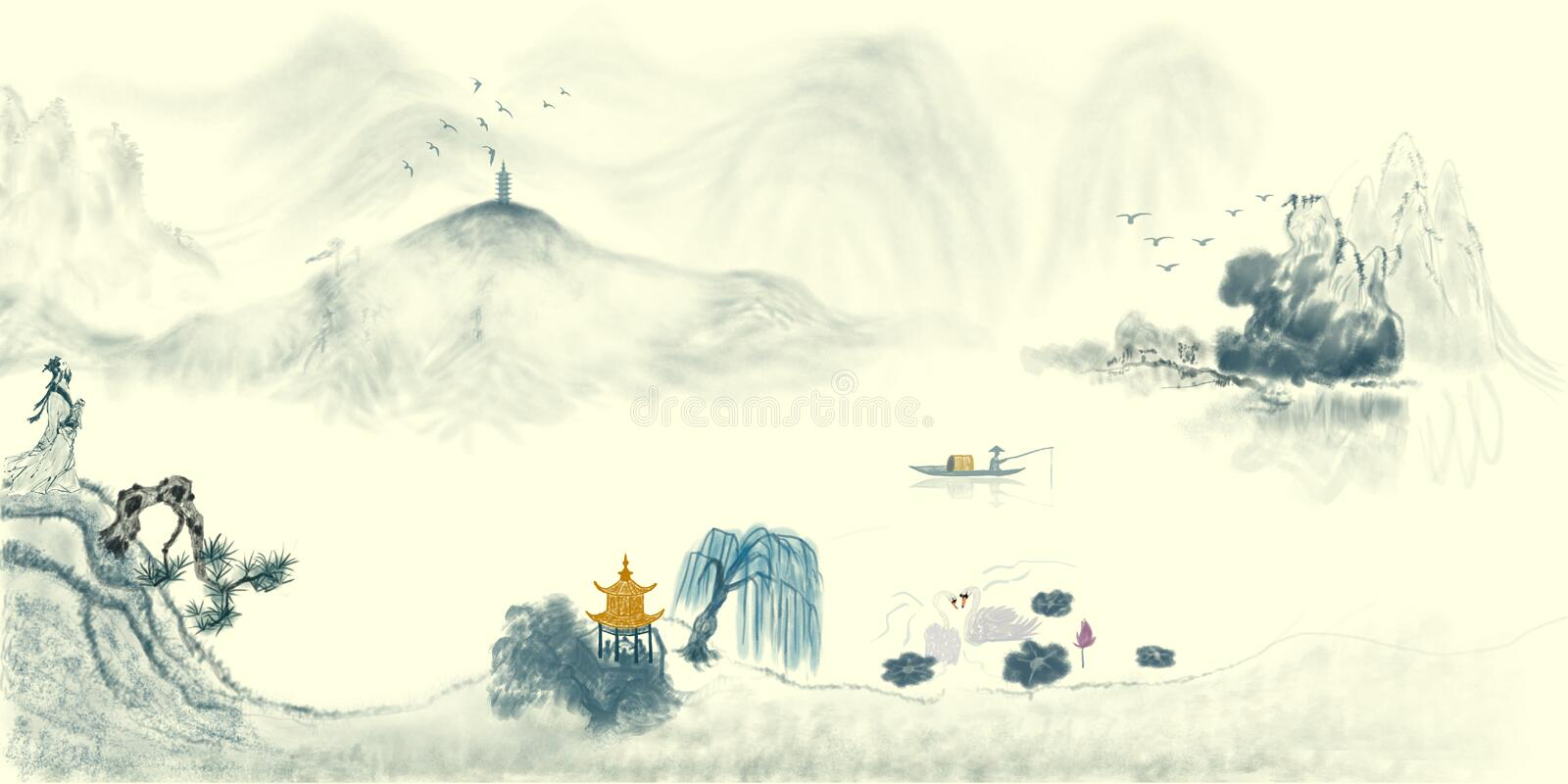 Fairyland landscape Chinese Ink painting. Ink landscape Chinese painting like a fairyland,Forest, distant mountains, mountain forest, quiet, paradise on stock illustration