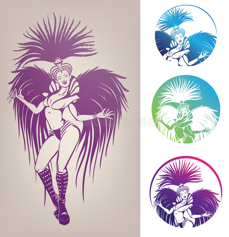 Ink linework dancing girl in carnival feather cost royalty free illustration