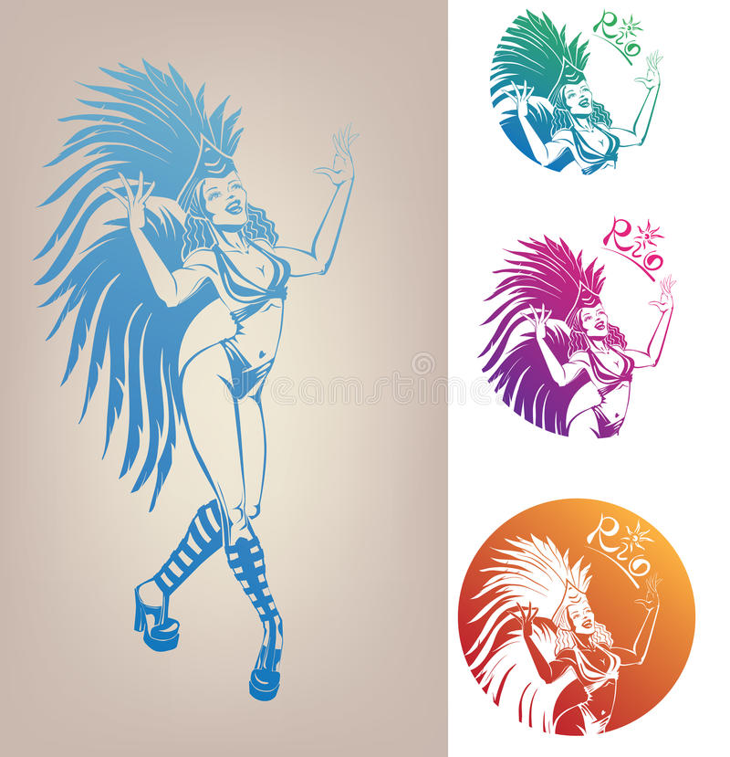 Free Ink Linework Dancing Girl In Carnival Feather Cost Royalty Free Stock Photography - 31519037