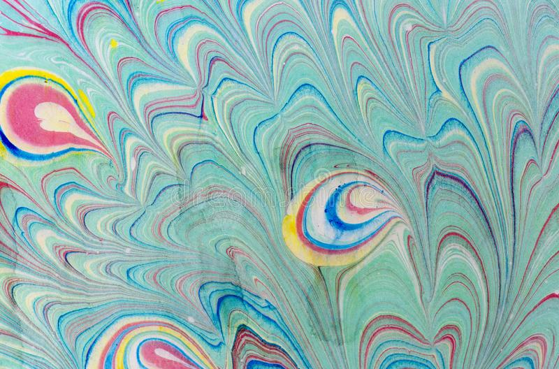 Ink marble texture. Ebru handmade wave background. Kraft paper surface. Unique art illustration. Liquid marbling texture royalty free stock image