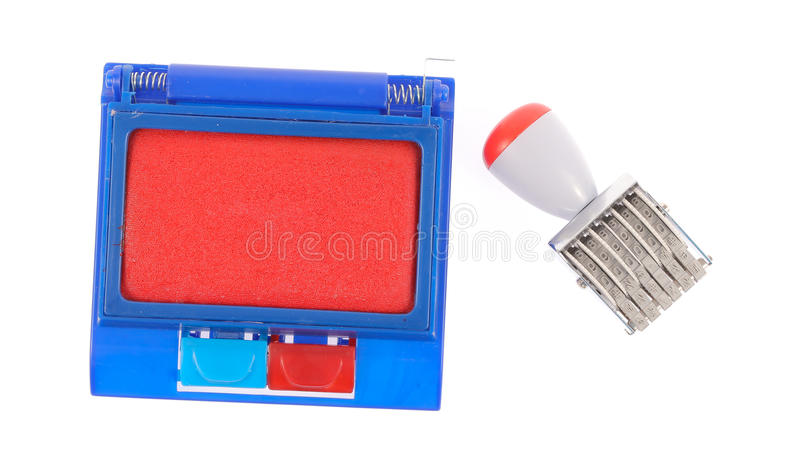 Ink pad and rubber stamp royalty free stock photography