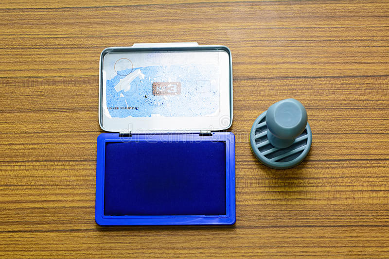 Ink pad and rubber stamp stock photography