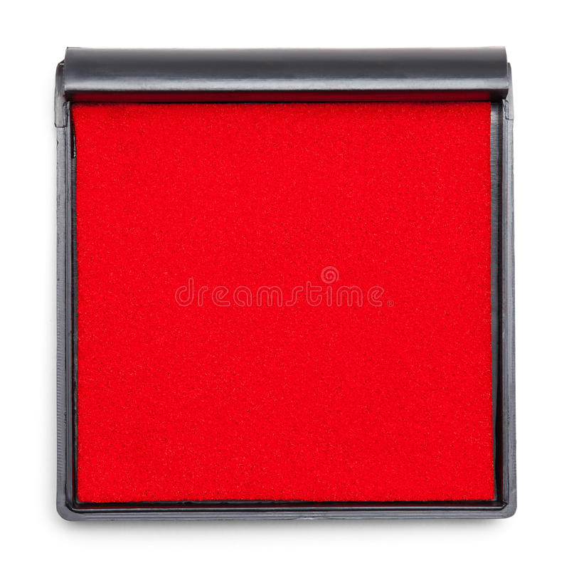 Ink Pad Top. Red Square Ink Pad Isolated on White Background stock photo