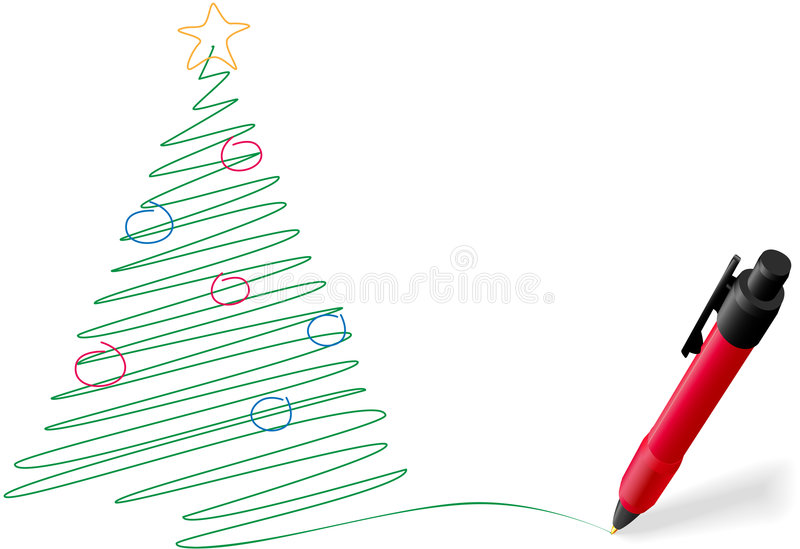 Ink Pen Drawing Writing Merry Christmas Tree Stock Photo