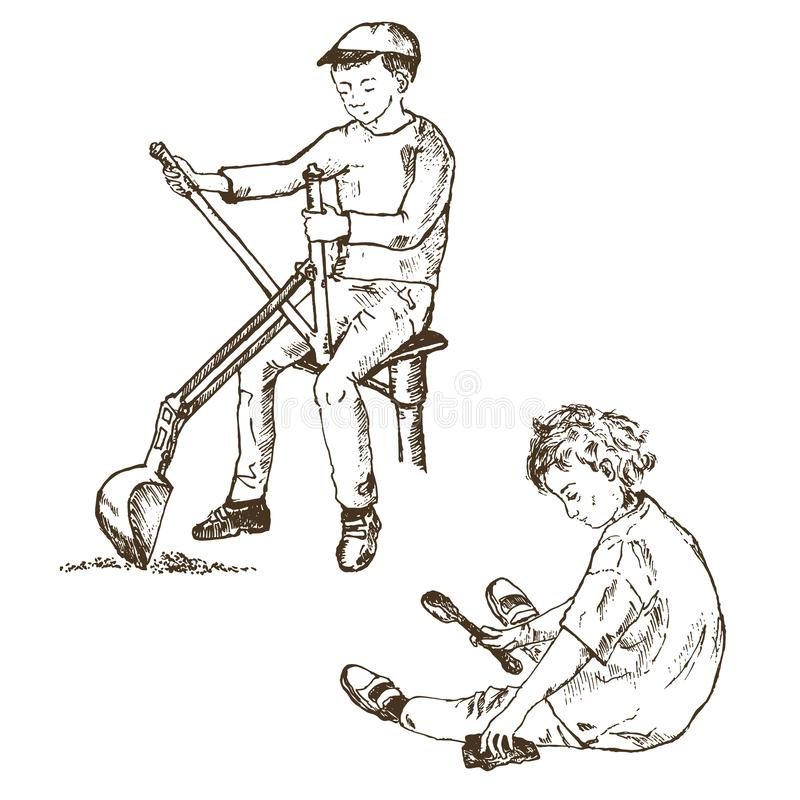 Ink pen hand drawn little cute girl and boy playing in sand children`s games. Kids playing in the sandbox park. Children. Ink pen hand drawn little cute girl and vector illustration