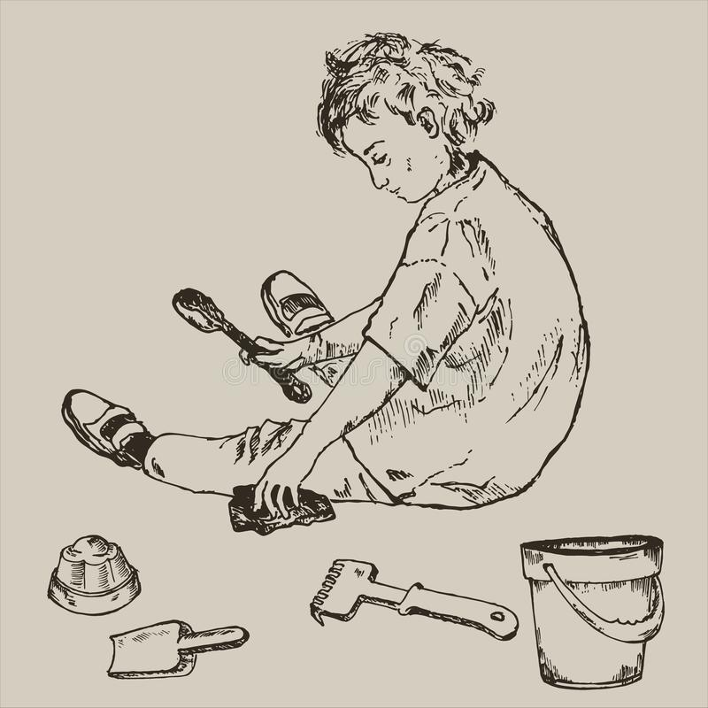 Ink pen hand drawn little cute girl playing in sand children`s games with bucket, shovel and rake. Kids playing in the. Sandbox park. Vector vintage summer royalty free illustration