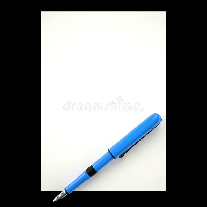 Ink pen and paper sheet, 3D. Blue ink pen and white paper sheet, 3D vector illustration