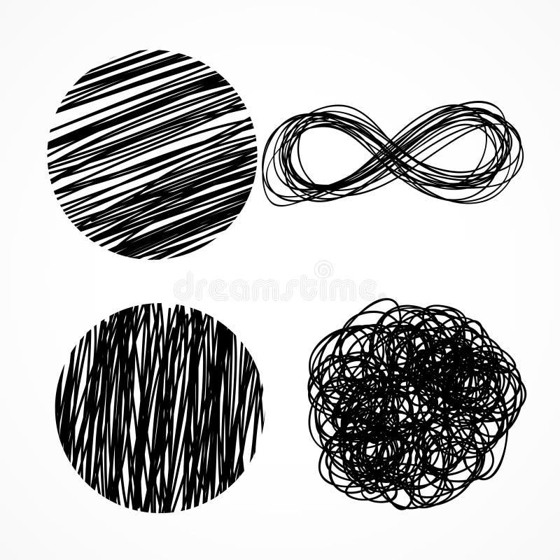Ink pen scribbles hand drawn set. Vector vector illustration