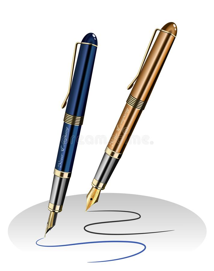 Ink pens with drawn lines. An illustration of ink pens with drawn lines vector illustration