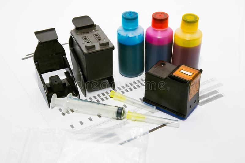 Ink refill set for printer. Cartridge accessories stock images