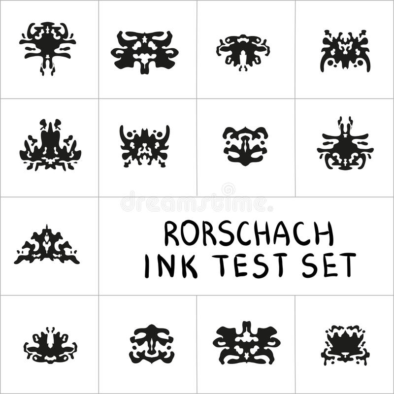 Ink Rorschach test set. Ink-bloat vector collection. Ink Rorschach test set. Ink-bloat psychology vector collection royalty free illustration
