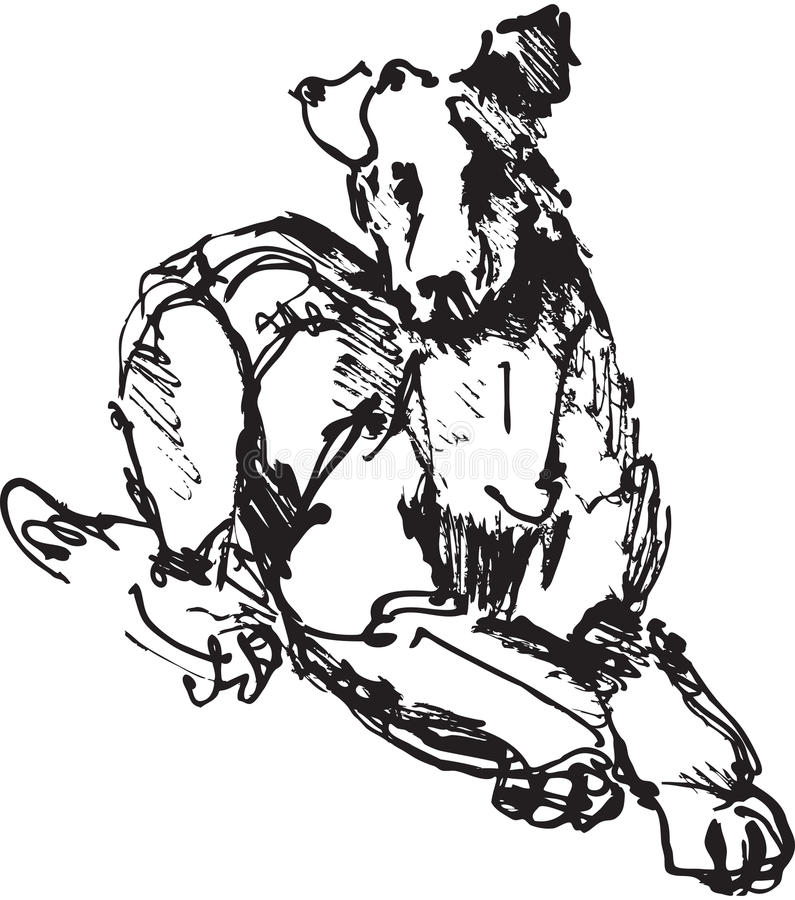 Ink sketch of dog. Playing young terrier (black and white picture vector illustration