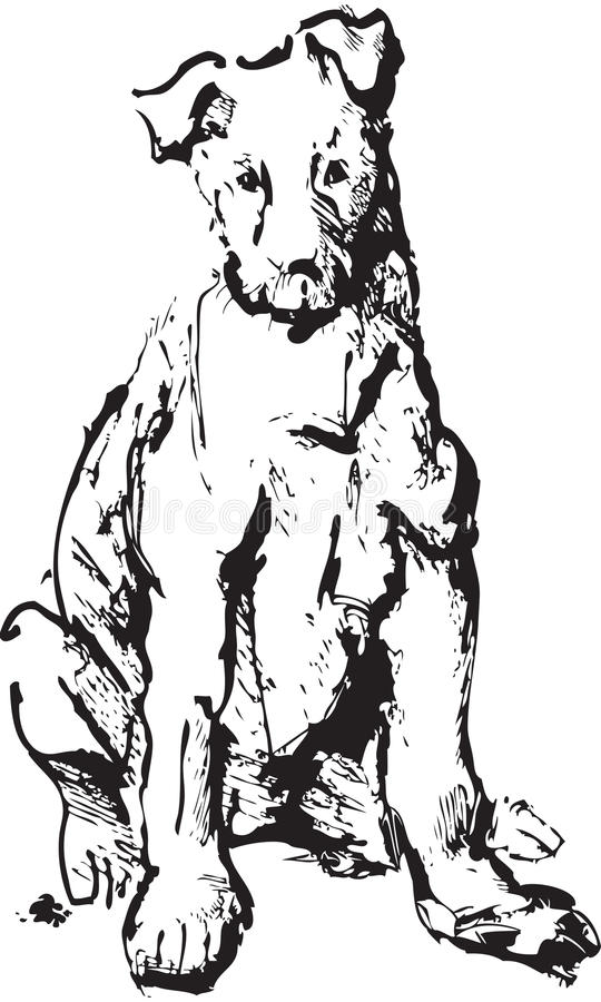 Ink sketch of dog. Young terrier (black and white picture stock illustration
