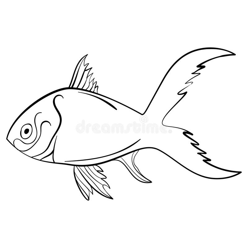 Ink sketch fish. Quirky drawing Vector Illustration royalty free illustration