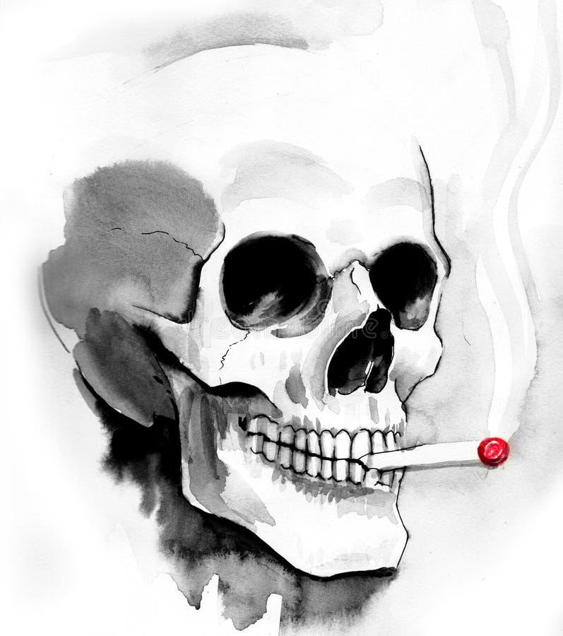 Smoking skull royalty free illustration