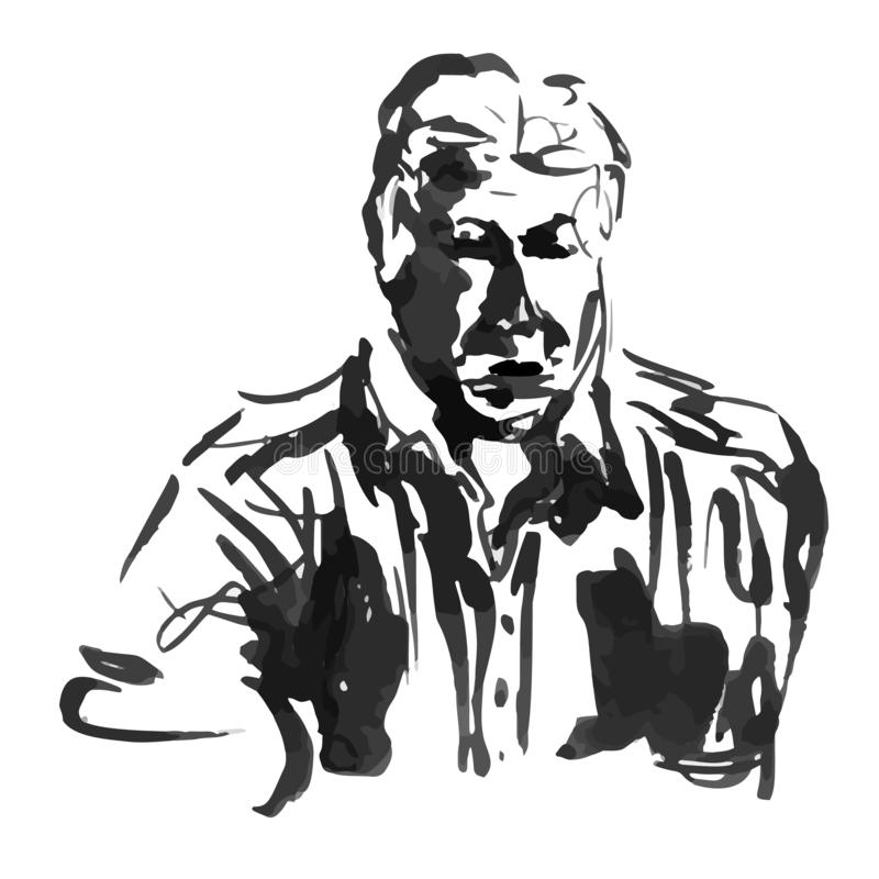 Ink sketch man portrait, businessman in a jacket style - Hand drawing vector illustration royalty free illustration