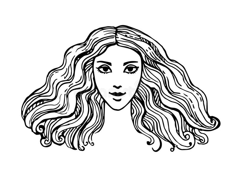 Ink sketch of woman royalty free illustration