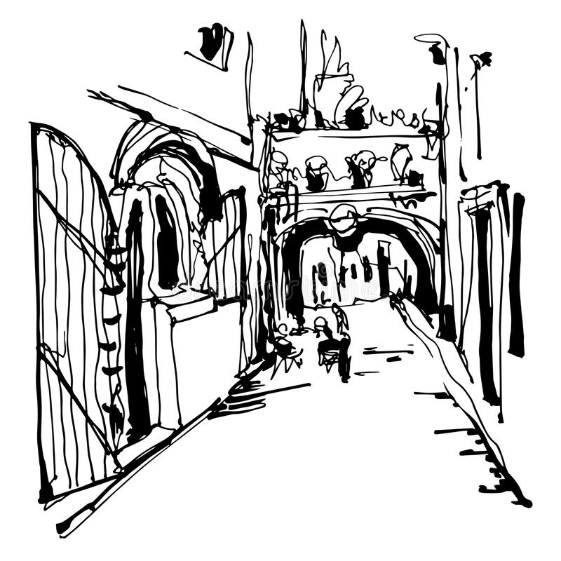Ink sketching of historic narrow cobbled street in Budva. Black and white ink sketching of historic narrow cobbled street in Budva Montenegro, old town travel vector illustration