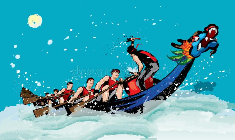 Download Vector Of Dragon Boat Racing During Chinese Festival Stock Illustration