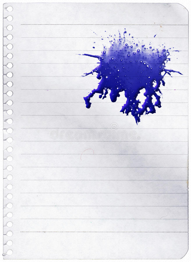Ink splashes. Over paper with lines stock photos