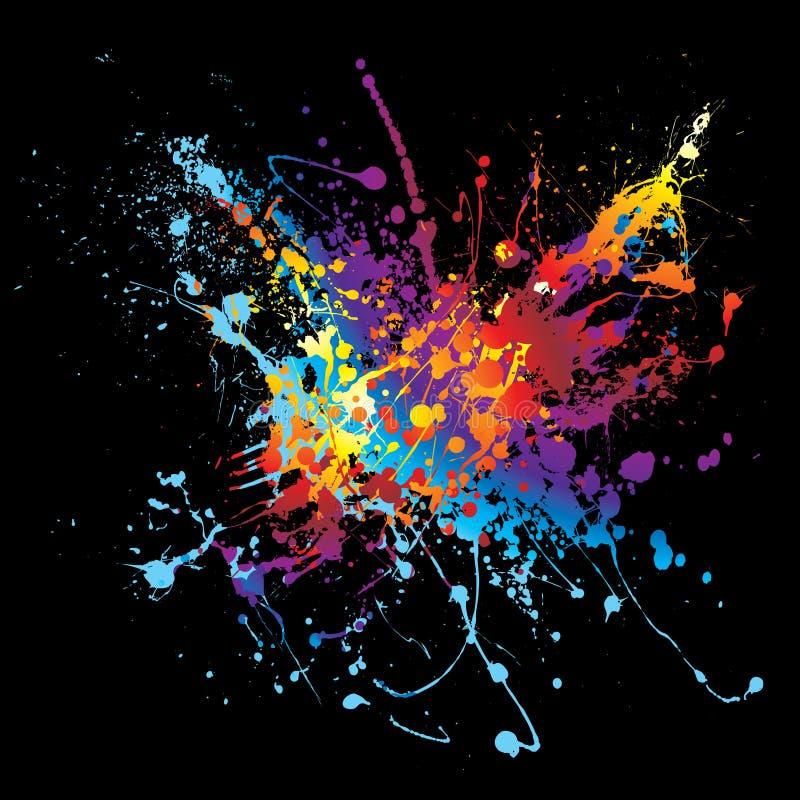 Ink splatter rainbow black royalty free illustration