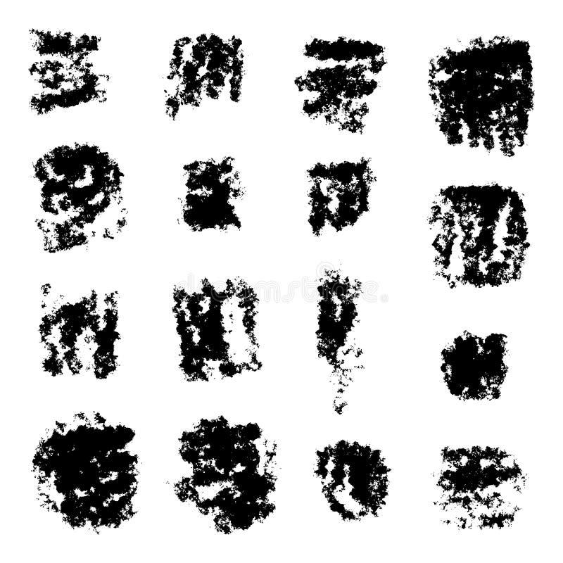 Ink splatters. Grunge design elements collection. Stylish grunge ink splits set. Design symbols Vector isolated royalty free illustration