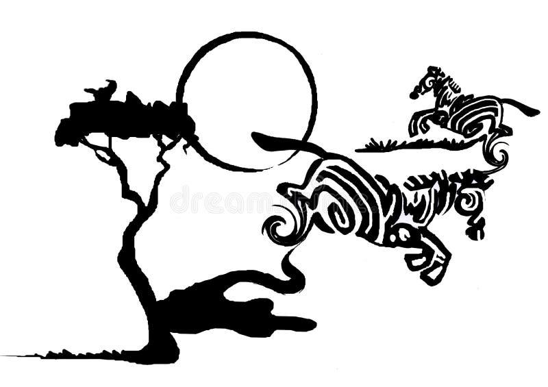 Ink splotch zebras stock photography