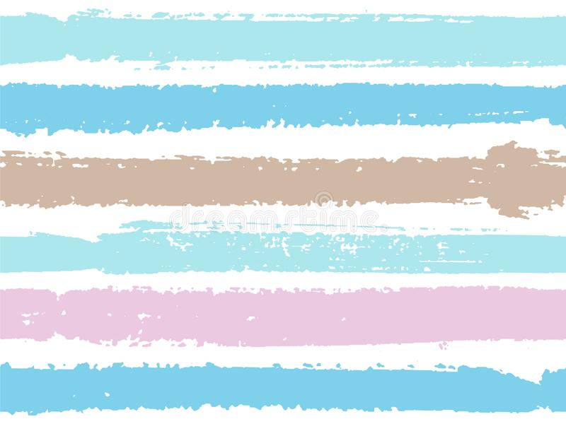 Horizontal ink lines paint stripes seamless vector summer pattern. vector illustration