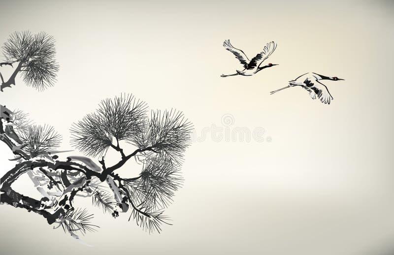 Ink style pine tree and crane stock illustration