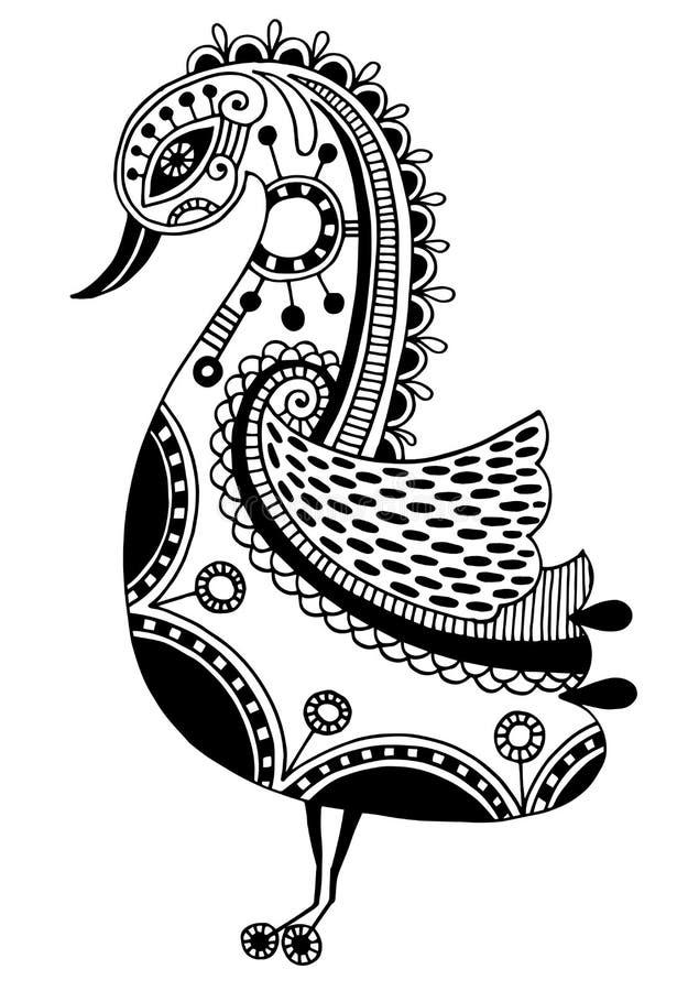 Ink teckningen av den stam- dekorativa fågeln, person som tillhör en etnisk minoritet vektor illustrationer