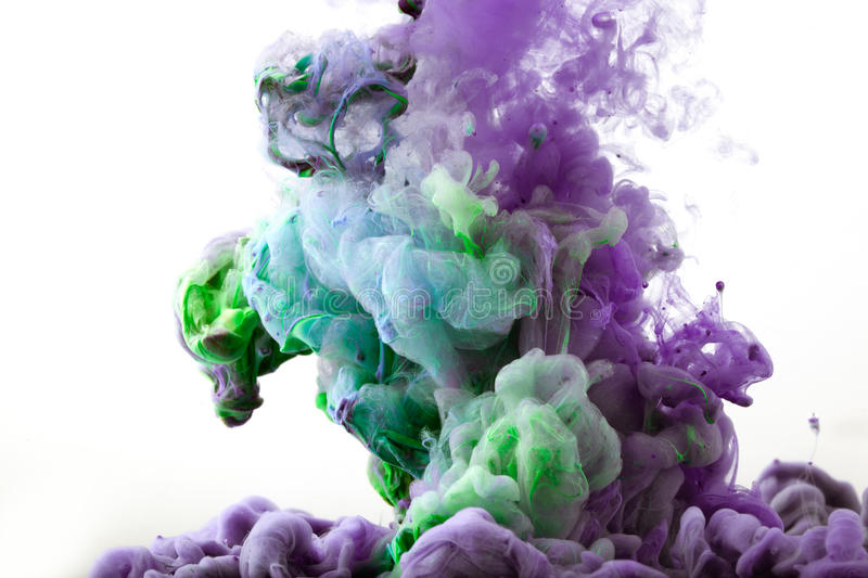 Ink in water. Abstract background. . Ink swirling in water.  isolated on white background. Colorful vector illustration