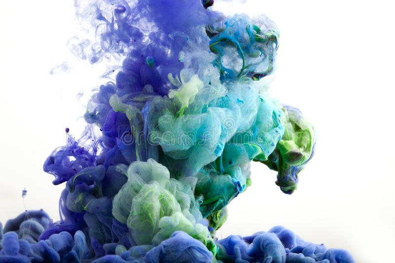 Ink in water. Abstract background. . Ink swirling in water.  isolated on white background. Colorful stock illustration