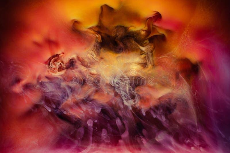 Ink water splash volcanic eruption multicolor. Ink water splash. Volcanic eruption. Multicolor steam effect. Creative art background stock images