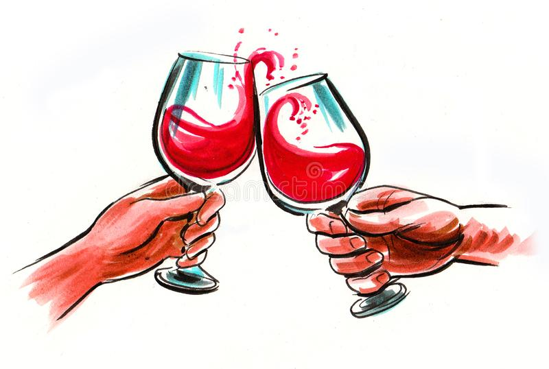 Hands with wine glasses vector illustration