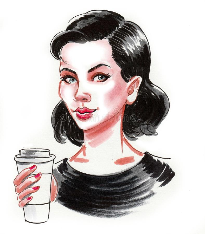 Pretty girl with a cup of coffee stock illustration
