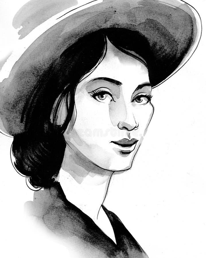 Beautiful woman in hat stock illustration