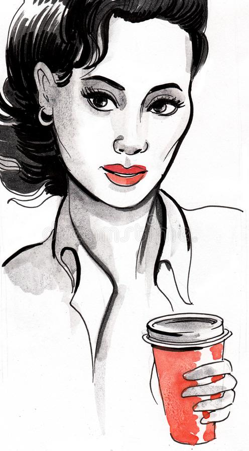 Woman with a coffee cup royalty free illustration