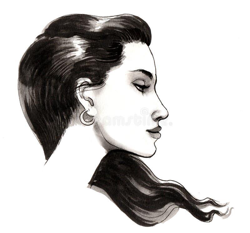 Beautiful brunette profile stock illustration