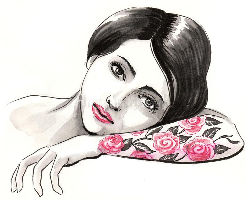 Woman with a rose tattoo stock illustration