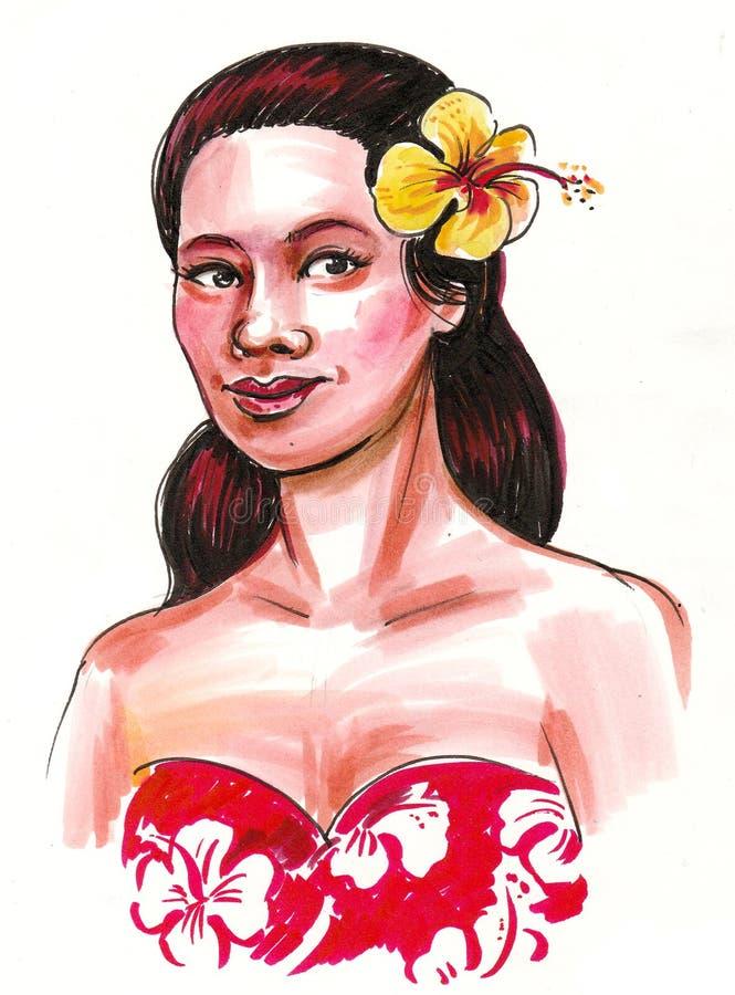 Hawaiian beauty stock illustration