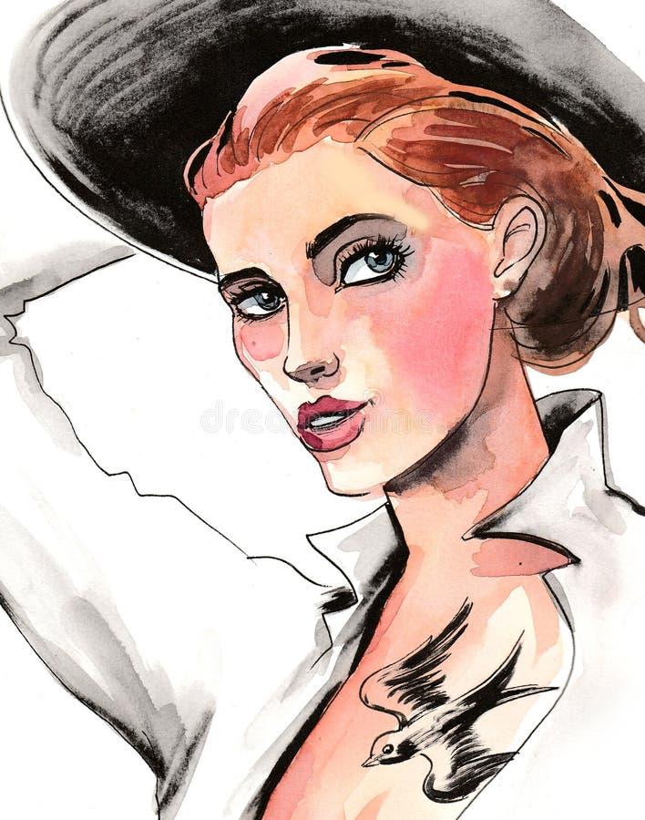 Beautiful woman in black hat royalty free illustration